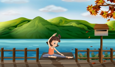 pict: Illustration of a girl excercising along the seaside Illustration