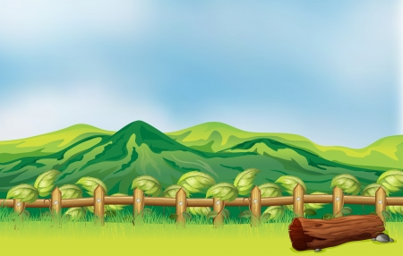 Illustration of a mountain view across a wooden fence Stock Vector - 17892386