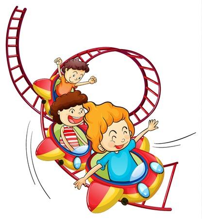 tren caricatura: Ilustración de tres niños que montan en una montaña rusa en un fondo blanco Vectores