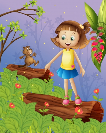 Illustration of a girl and a beaver in the jungle Stock Vector - 17891994