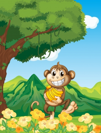 Illustration of a monkey holding a banana in the forest Stock Vector - 17889314