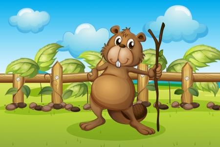 nutria caricatura: Ilustración de un castor con un palo