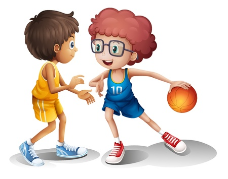 Illustration of kids playing basketball on a white background Vector
