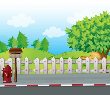 lettre de feu: Illustration d'une bo�te aux lettres et une bouche d'incendie sur le bord d'une route