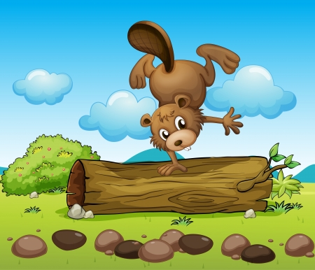 Illustration of a beaver playing alone Vector