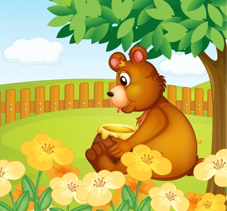 Illustration of a bear sitting in a beautiful garden Stock Vector - 17889466