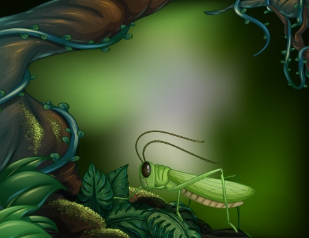 Illustration of a grasshopper in the forest Vector