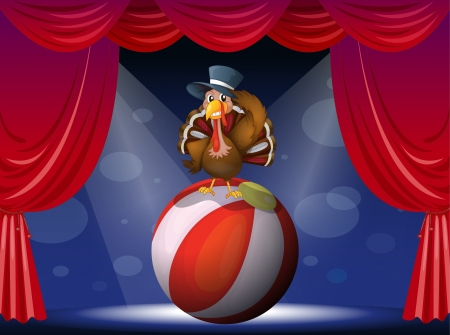 caruncle: Illustration of a turkey performing on stage with a ball Illustration