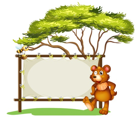 Illustration of a notice board, a bear and a honey bee on a white background Vector