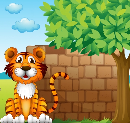 Illustration of a tiger at the left side of a brick wall Stock Vector - 17889483