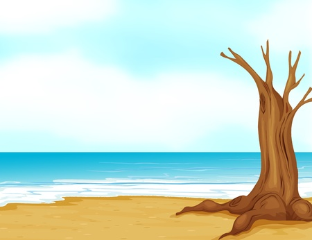 deep roots: Illustration of a tree without leaves at the seashore Illustration