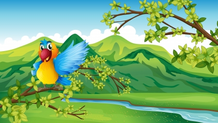 Illustration of a parrot near the river Stock Vector - 17889707