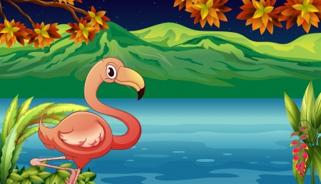Illustration of a swan and a pond in a beautiful nature Vector