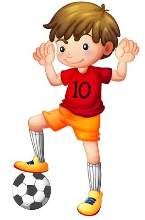 game boy: Illustration d'un gar�on et d'un ballon de football sur un fond blanc Illustration