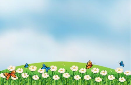 clouds clipart: Illustration of butterflies in the garden Illustration