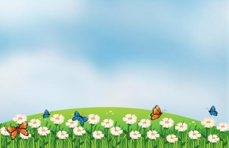 cloud clipart: Illustration of butterflies in the garden Illustration