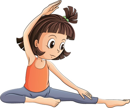 exercise cartoon: Illustration of a girl doing yoga on a white background Illustration