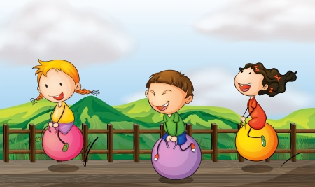 bouncing: Illustration of kids playing at the bridge