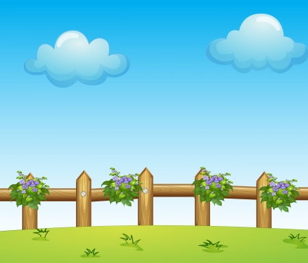Illustration of the wooden fence with plants Vector
