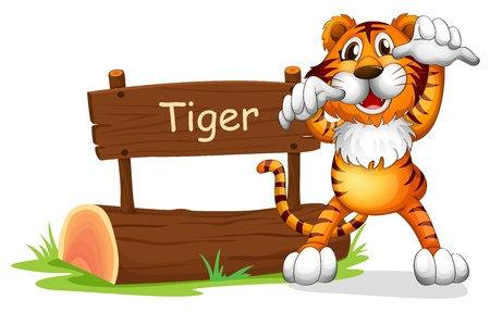 Illustration of a tiger standing at the right side of a sign board on a white background Vector