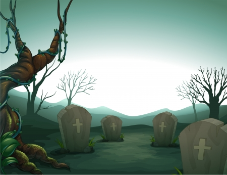 Illustration of a graveyard in the forest