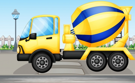 cement mixer: Illustration of a cement truck