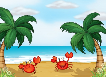 pict: Illustration of crabs in the seashore