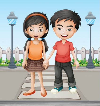 Illustration of two teenager holding hands together Vector