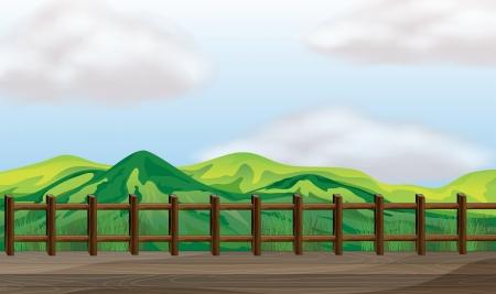 Illustration of a bridge overlooking the mountain Vector