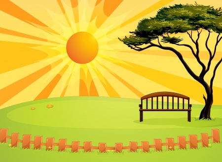 hot seat: Illustration of an empty bench
