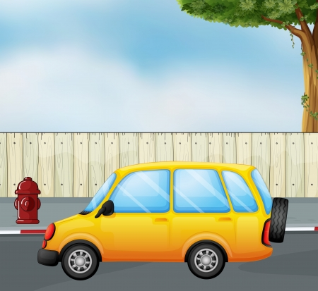 parked: Illustration of a yellow car