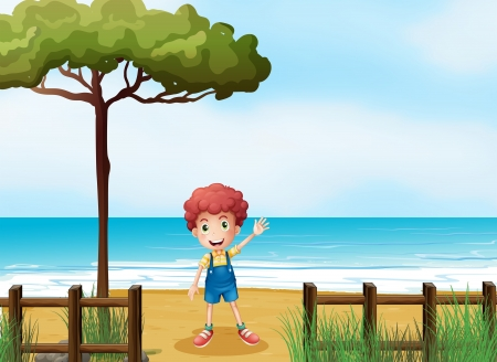 pict: Illustration of a boy at the seashore Illustration