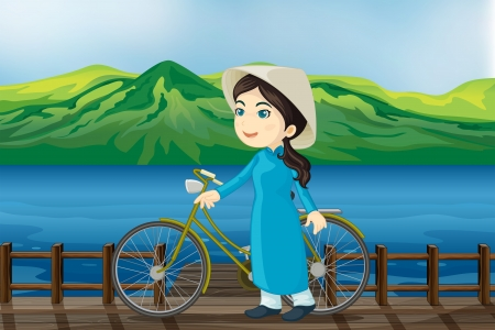 Illustration of a girl with bicycle on a bench Stock Vector - 17889364