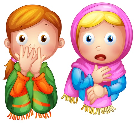 child praying: Illustration of a boy and a girl on a white background