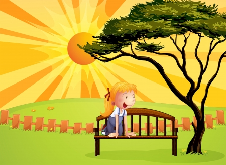 Illustration of a little girl at the bench Stock Vector - 17889358