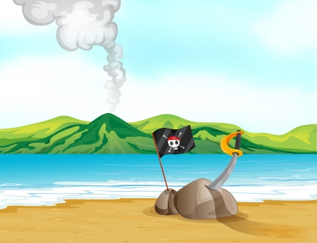 pict: Illustration of a volcano in the beach Illustration