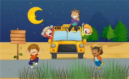 evening party: Illustration of giggling kids in the middle of the night