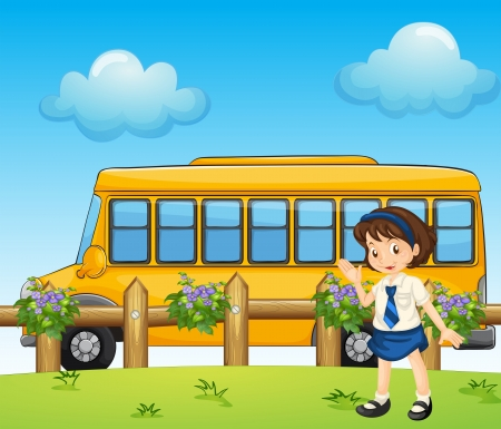Illustration of a student and the school bus Ilustração