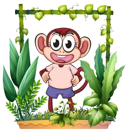 open eye: Illustration of a monkey with a pink shirt on a white background