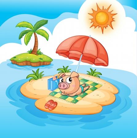 sunbathing: Illustration of a pig sunbathing