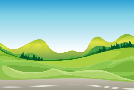 moutains: Illustration of a road and a beautiful landscape