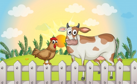 rooster at dawn: Illustration of a cow and a rooster Illustration