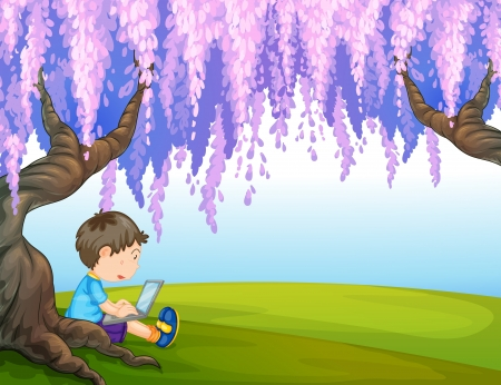 pict: Illustration of a young boy under a big tree