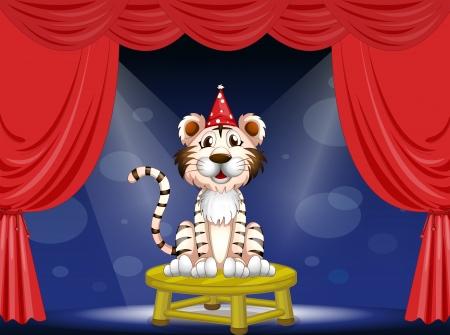 centerstage: Illustration of a tiger performing