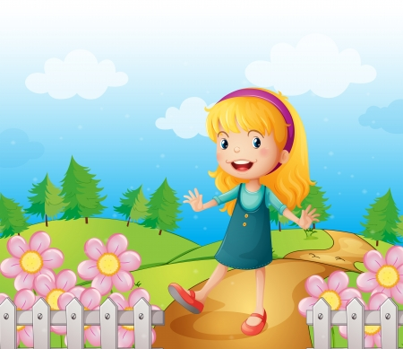 Illustration of a young lady in the garden Stock Vector - 17889698