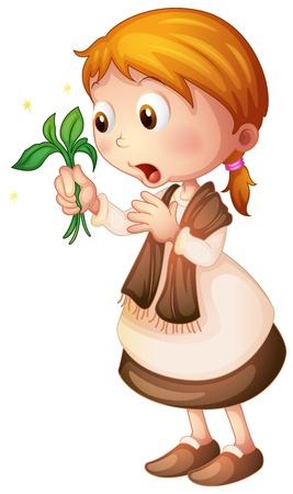 Ilustración de una niña en un fondo blanco