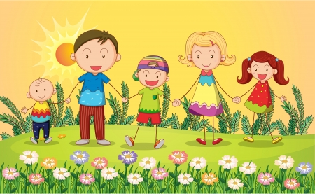 Illustration of smiling kids in a beautiful nature Stock Vector - 17889661