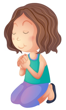 arrodillarse: Ilustración de una mujer rezando sobre un fondo blanco