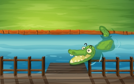 river bank: Illustration of a crocodile and a bench in a river