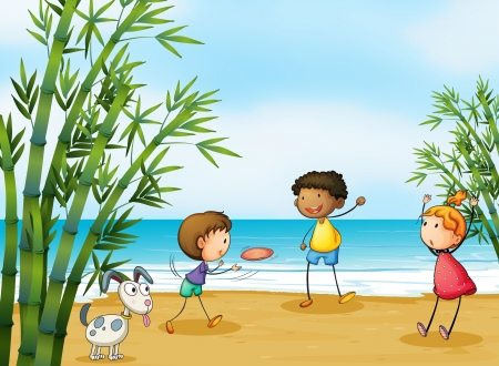 Illustration of smiling kids playing on a beach Vector